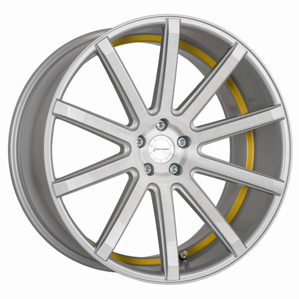 Corspeed Felge DEVILLE Silver-brushed-Surface - undercut Color Trim gelb 9,5x19 5x112 Lochkreis