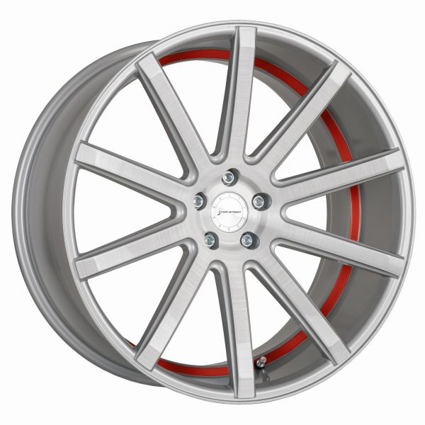 Corspeed Felge DEVILLE Silver-brushed-Surface - undercut Color Trim rot 8,5x19 5x108 Lochkreis