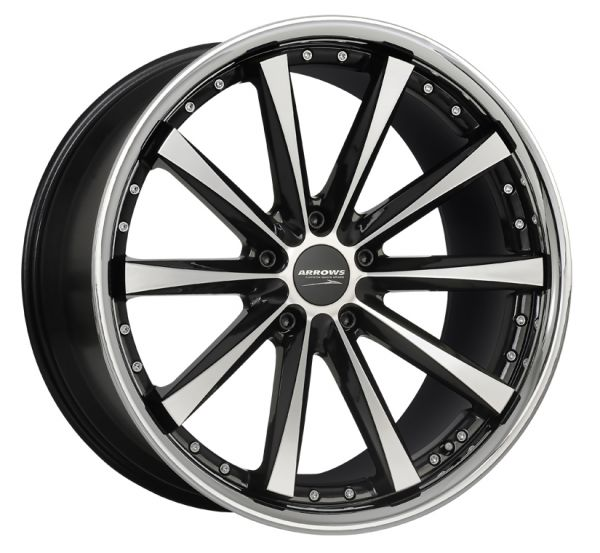 Corspeed Felge ARROWS Higloss black polished inox lip 9.5x19 5x112 Lochkreis